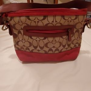 Coach purse small brown with red suede